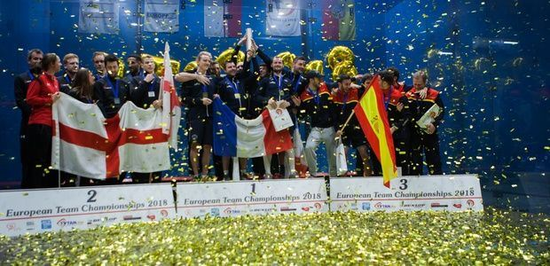 European Honours Shared at World's Largest Squash Venue